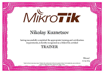 MikroTik certified trainer